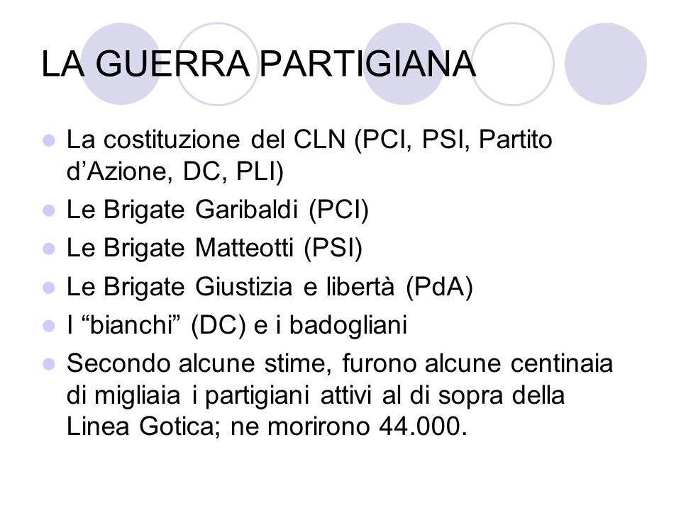 LA GUERRA PARTIGIANA La costituzione del CLN (PCI, PSI, Partito dAzione, DC, PLI) Le Brigate Garibaldi (PCI) Le Brigate Matteotti (PSI) Le Brigate Giu