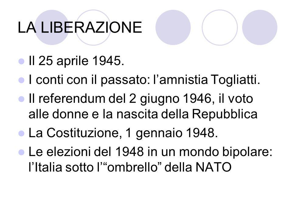 LA LIBERAZIONE Il 25 aprile 1945. I conti con il passato: lamnistia Togliatti. Il referendum del 2 giugno 1946, il voto alle donne e la nascita della