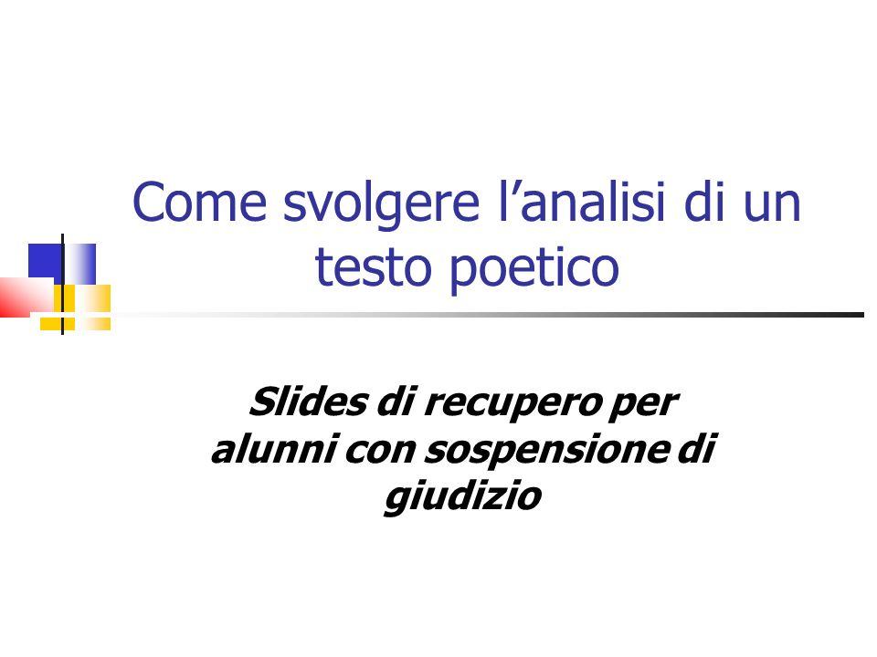Come svolgere lanalisi di un testo poetico Slides di recupero per alunni con sospensione di giudizio