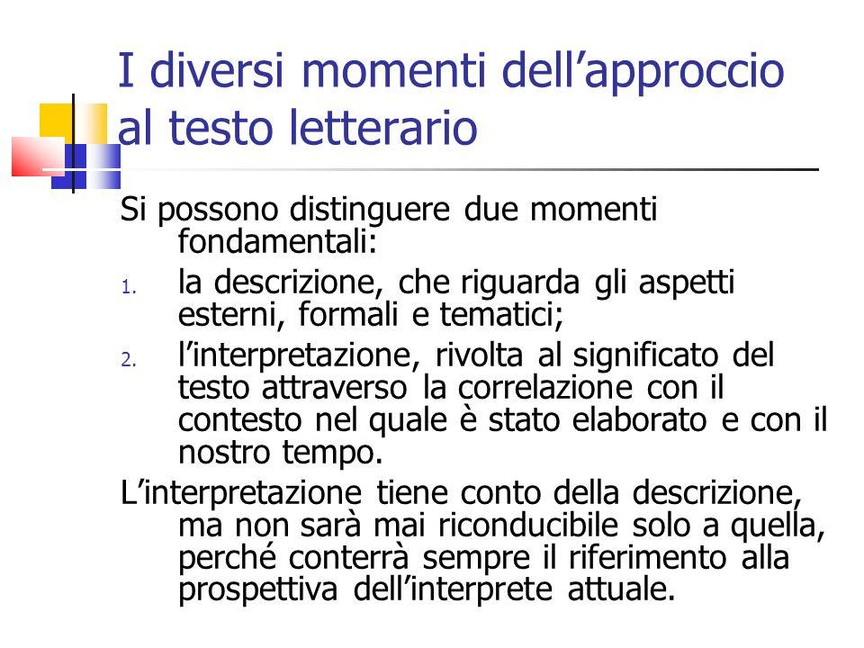 I diversi momenti dellapproccio al testo letterario Si possono distinguere due momenti fondamentali: 1. la descrizione, che riguarda gli aspetti ester