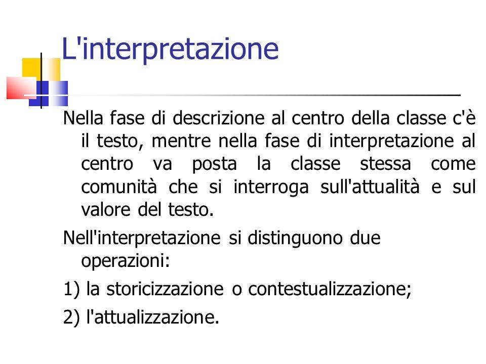 L'interpretazione Nella fase di descrizione al centro della classe c'è il testo, mentre nella fase di interpretazione al centro va posta la classe ste