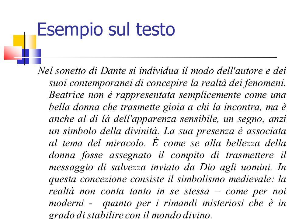 Esempio sul testo Nel sonetto di Dante si individua il modo dell'autore e dei suoi contemporanei di concepire la realtà dei fenomeni. Beatrice non è r