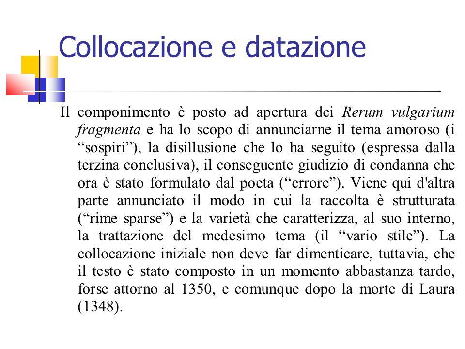 Collocazione e datazione Il componimento è posto ad apertura dei Rerum vulgarium fragmenta e ha lo scopo di annunciarne il tema amoroso (i sospiri), l