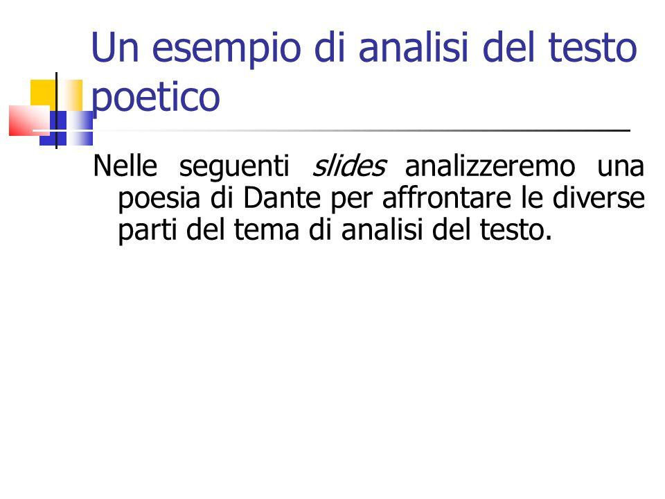 Un esempio di analisi del testo poetico Nelle seguenti slides analizzeremo una poesia di Dante per affrontare le diverse parti del tema di analisi del