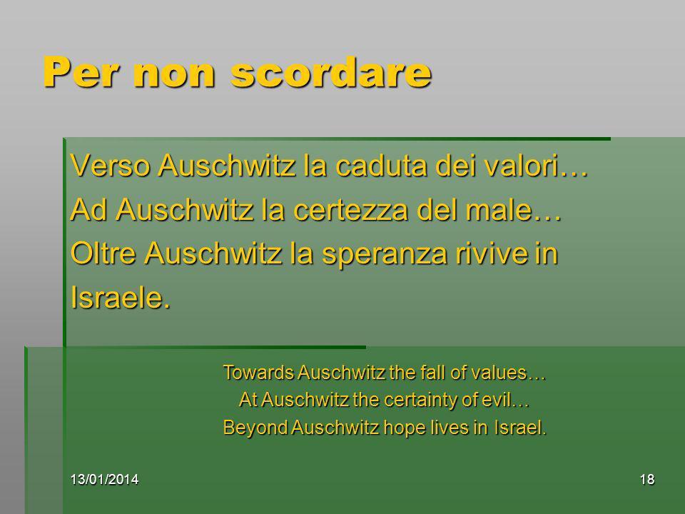 13/01/201418 Per non scordare Verso Auschwitz la caduta dei valori… Ad Auschwitz la certezza del male… Oltre Auschwitz la speranza rivive in Israele.