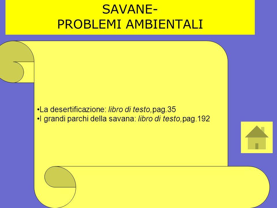 La desertificazione: libro di testo,pag.35 I grandi parchi della savana: libro di testo,pag.192 SAVANE- PROBLEMI AMBIENTALI