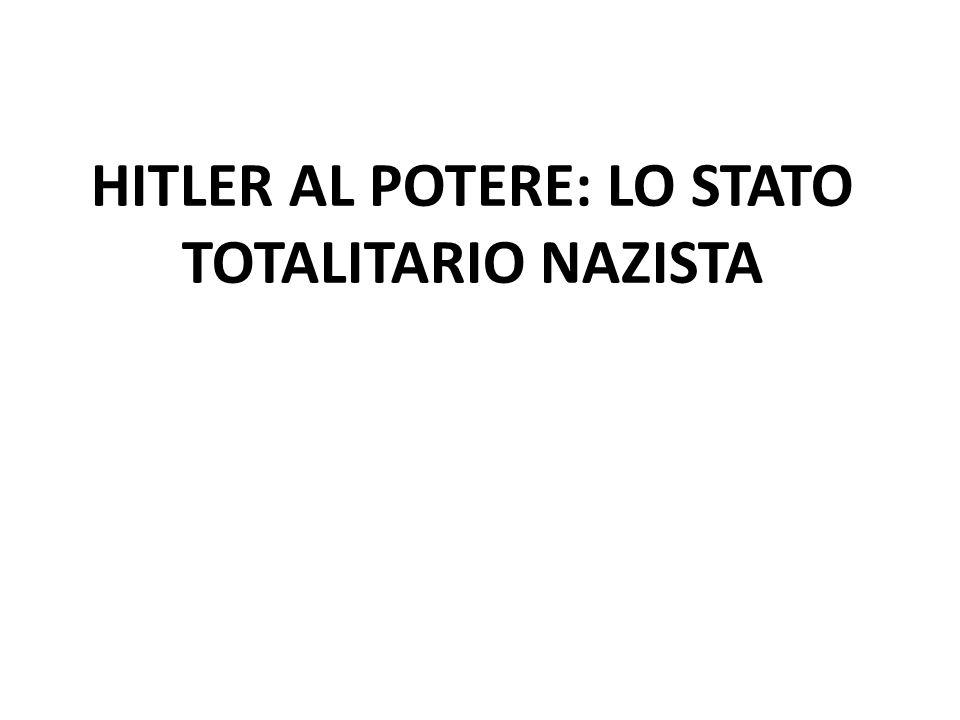 HITLER AL POTERE: LO STATO TOTALITARIO NAZISTA