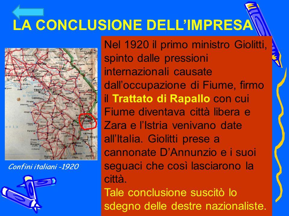 Nel 1920 il primo ministro Giolitti, spinto dalle pressioni internazionali causate dalloccupazione di Fiume, firmo il Trattato di Rapallo con cui Fium