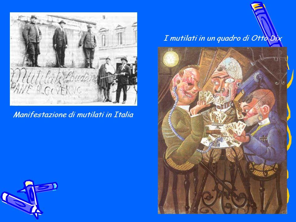 I mutilati in un quadro di Otto Dix Manifestazione di mutilati in Italia