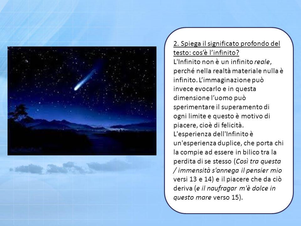 2.Spiega il significato profondo del testo: cosè linfinito.