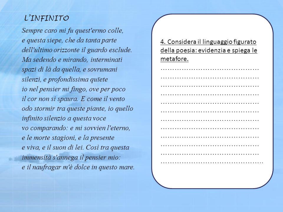 4.Considera il linguaggio figurato della poesia: evidenzia e spiega le metafore.