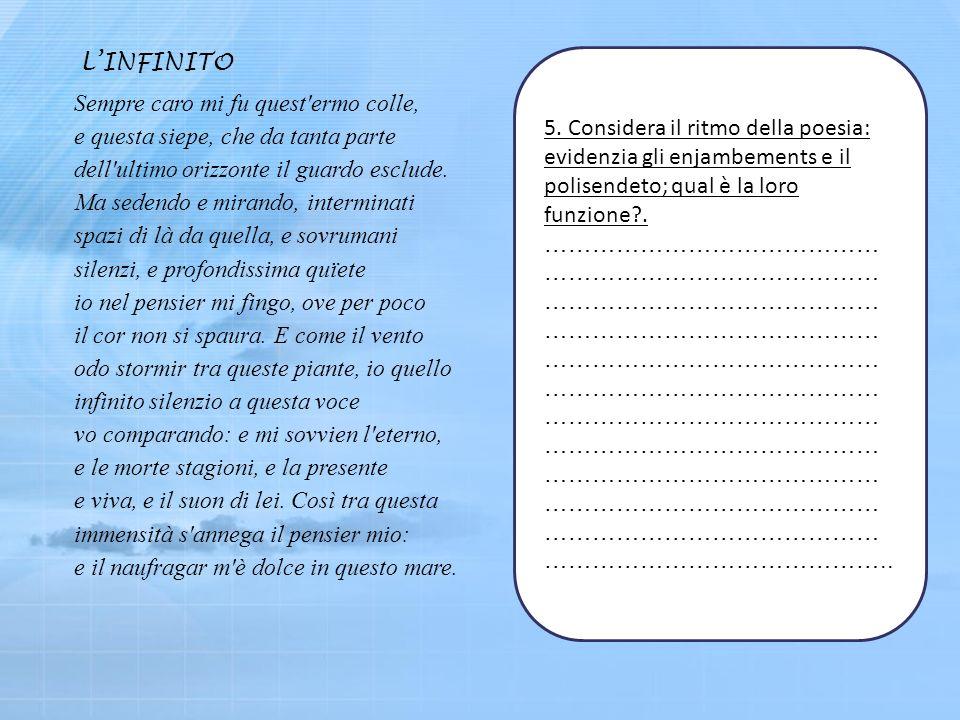 5. Considera il ritmo della poesia: evidenzia gli enjambements e il polisendeto; qual è la loro funzione?. …………………………………… …………………………………… …………………………………