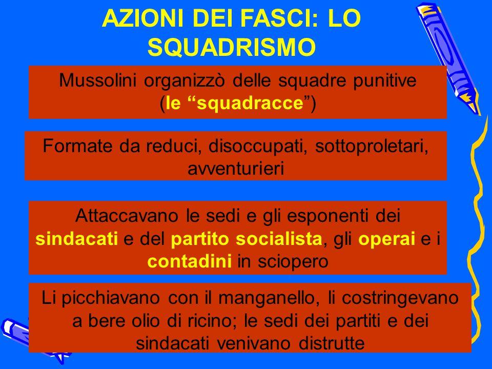 AZIONI DEI FASCI: LO SQUADRISMO Mussolini organizzò delle squadre punitive (le squadracce) Formate da reduci, disoccupati, sottoproletari, avventurier