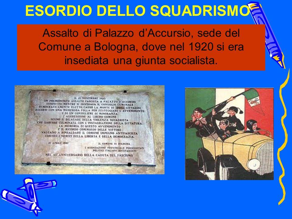 ESORDIO DELLO SQUADRISMO Assalto di Palazzo dAccursio, sede del Comune a Bologna, dove nel 1920 si era insediata una giunta socialista.