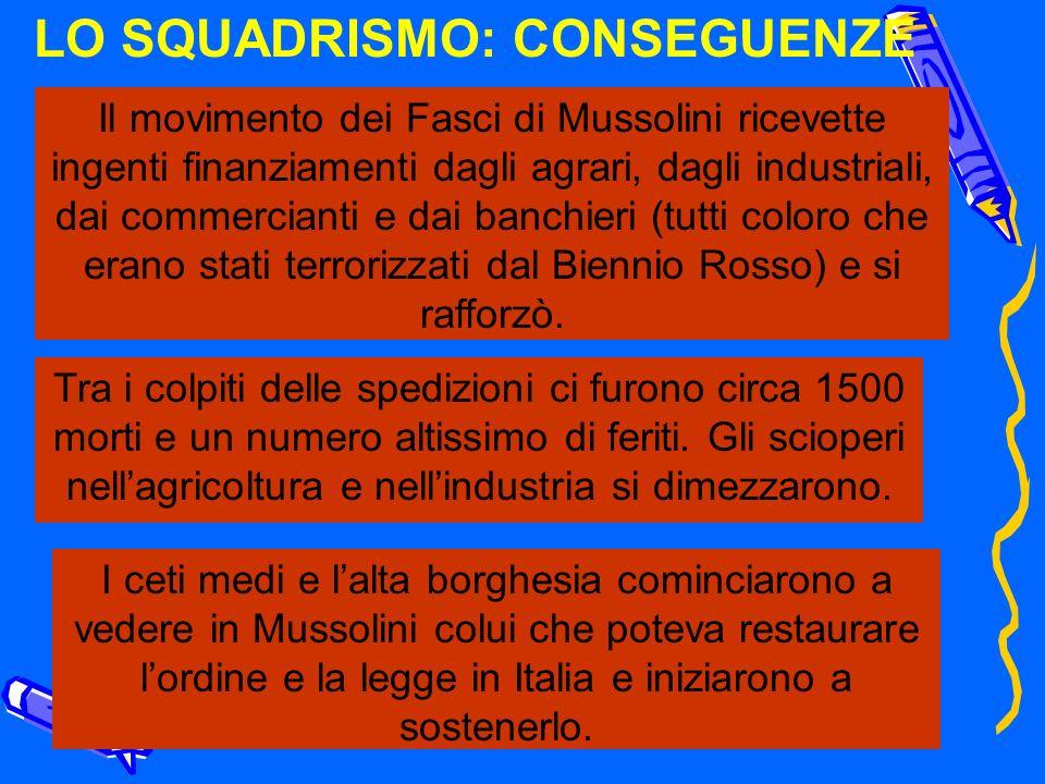 LO SQUADRISMO: CONSEGUENZE Il movimento dei Fasci di Mussolini ricevette ingenti finanziamenti dagli agrari, dagli industriali, dai commercianti e dai