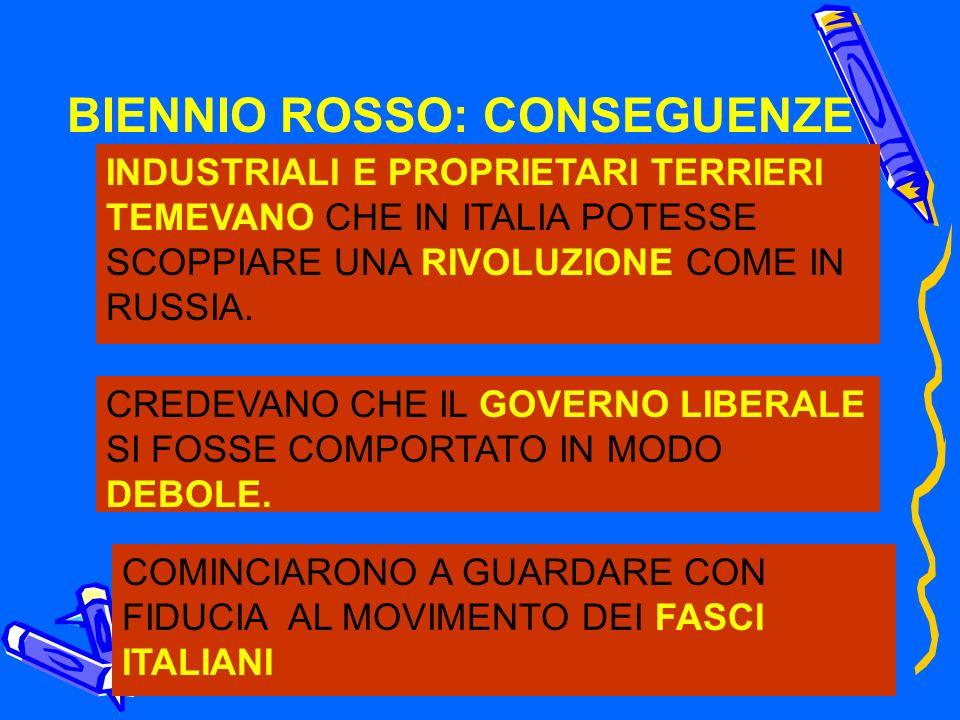 BIENNIO ROSSO: CONSEGUENZE INDUSTRIALI E PROPRIETARI TERRIERI TEMEVANO CHE IN ITALIA POTESSE SCOPPIARE UNA RIVOLUZIONE COME IN RUSSIA. CREDEVANO CHE I