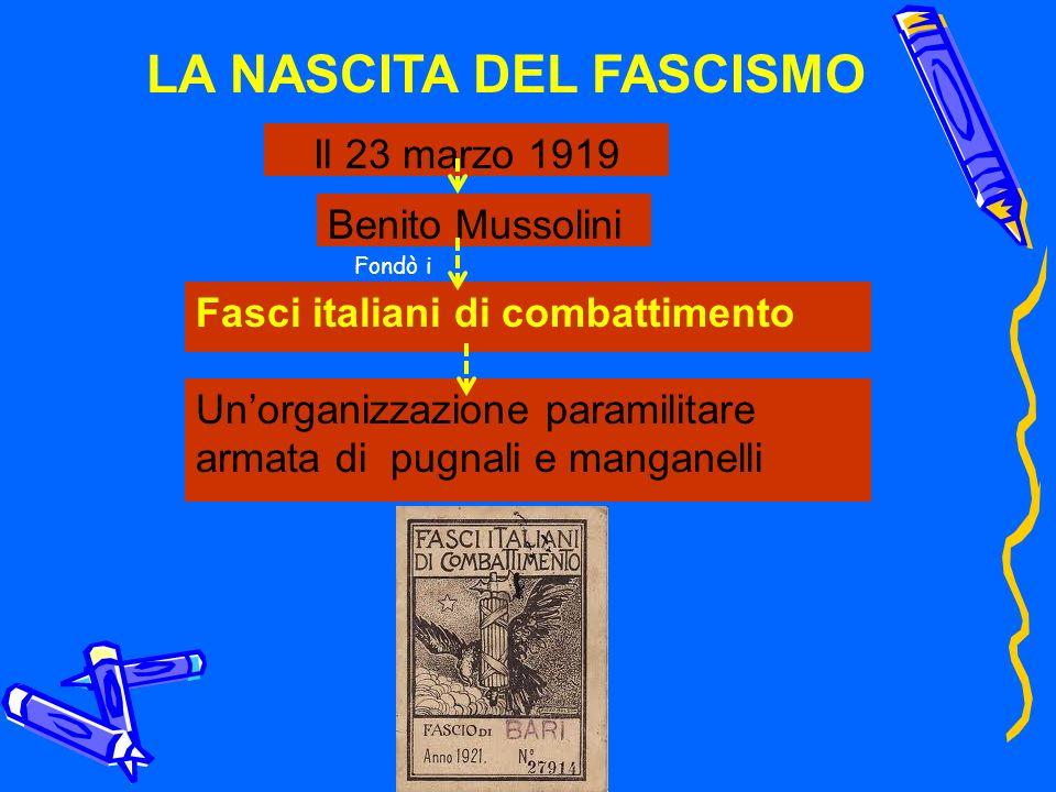 LA NASCITA DEL FASCISMO Il 23 marzo 1919 Benito Mussolini Fasci italiani di combattimento Fondò i Unorganizzazione paramilitare armata di pugnali e ma