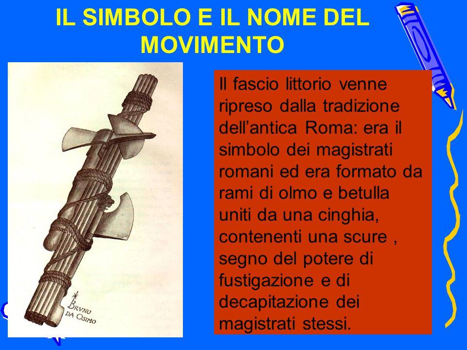 IL SIMBOLO E IL NOME DEL MOVIMENTO Il fascio littorio venne ripreso dalla tradizione dellantica Roma: era il simbolo dei magistrati romani ed era form