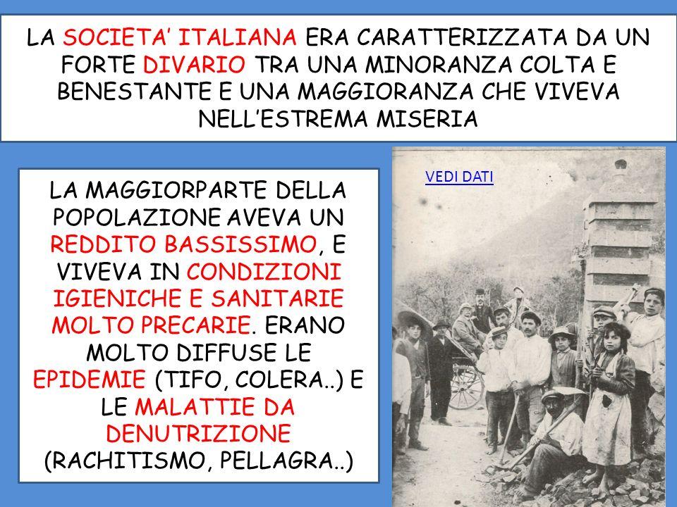 LA SOCIETA ITALIANA ERA CARATTERIZZATA DA UN FORTE DIVARIO TRA UNA MINORANZA COLTA E BENESTANTE E UNA MAGGIORANZA CHE VIVEVA NELLESTREMA MISERIA LA MAGGIORPARTE DELLA POPOLAZIONE AVEVA UN REDDITO BASSISSIMO, E VIVEVA IN CONDIZIONI IGIENICHE E SANITARIE MOLTO PRECARIE.