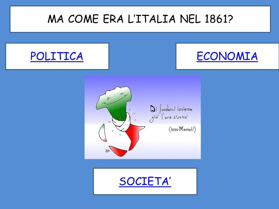 I PROBLEMI DELLITALIA UNITA DIFFICILE SITUAZIONE ECONOMICA CONDIZIONE DI MISERIA IN CUI VIVE LA MAGGIOR PARTE DELLA POPOLAZIONE ANALFABETISMO E MANCANZA DELLUNITA LINGUISTICA QUESTIONE ROMANA QUESTIONE MERIDIONALE 1 4 2 5 3