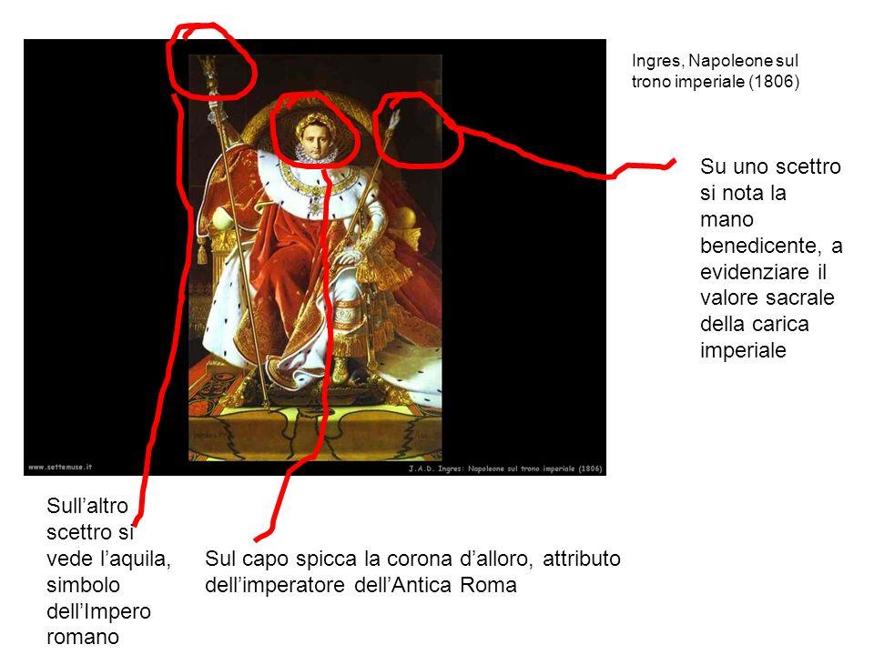 Ingres, Napoleone sul trono imperiale (1806) Su uno scettro si nota la mano benedicente, a evidenziare il valore sacrale della carica imperiale Sul ca