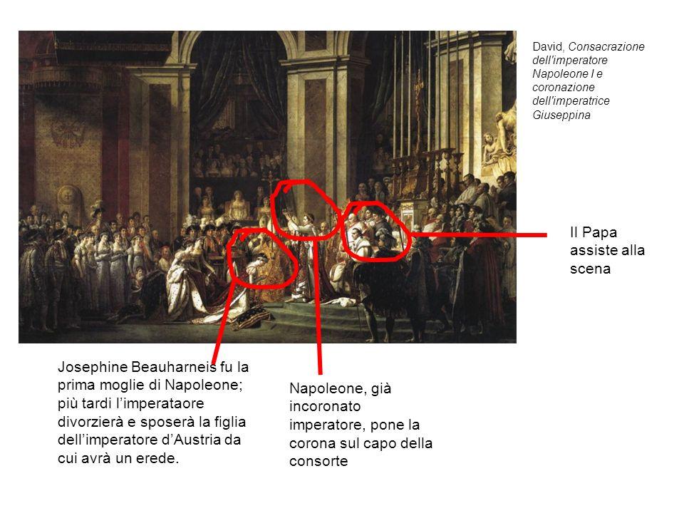 David, Consacrazione dell'imperatore Napoleone I e coronazione dell'imperatrice Giuseppina Il Papa assiste alla scena Napoleone, già incoronato impera