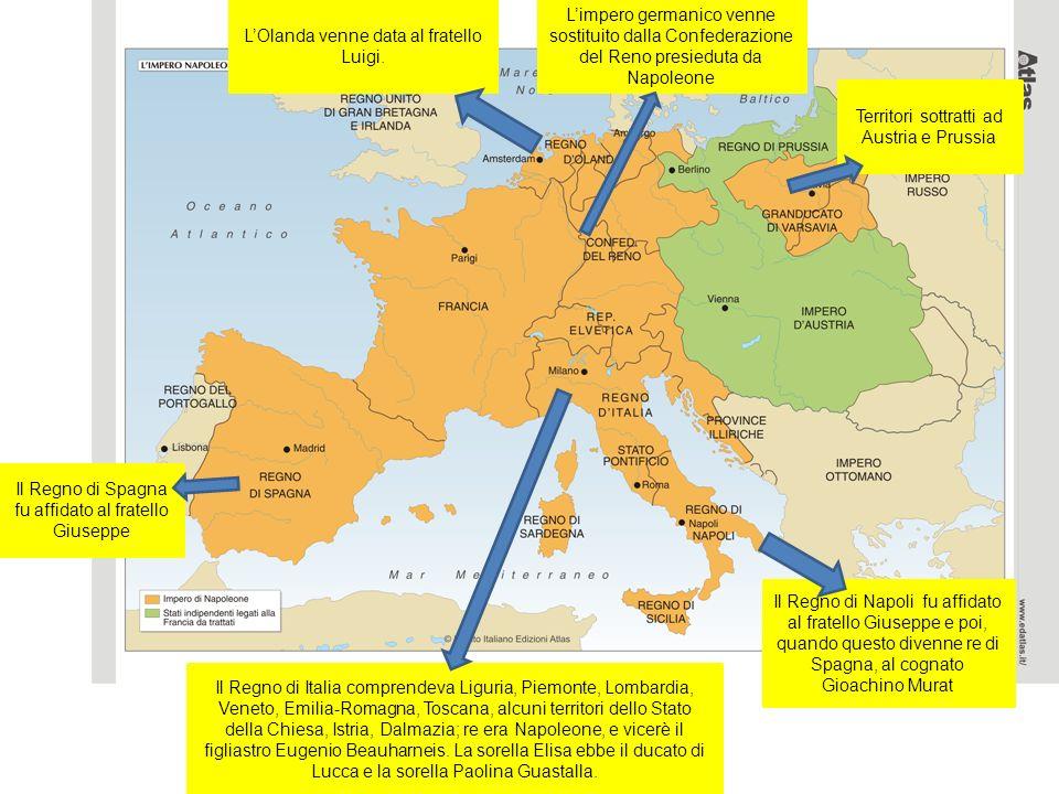 Territori sottratti ad Austria e Prussia Limpero germanico venne sostituito dalla Confederazione del Reno presieduta da Napoleone Il Regno di Napoli f