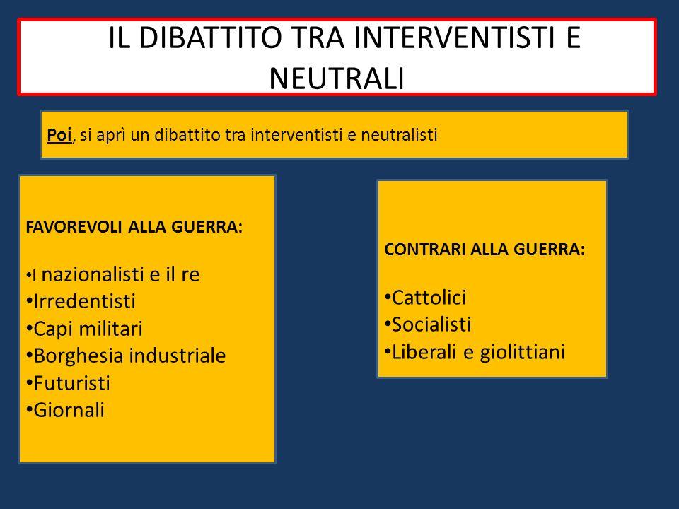 Il dibattito tra interventisti e neutralisti