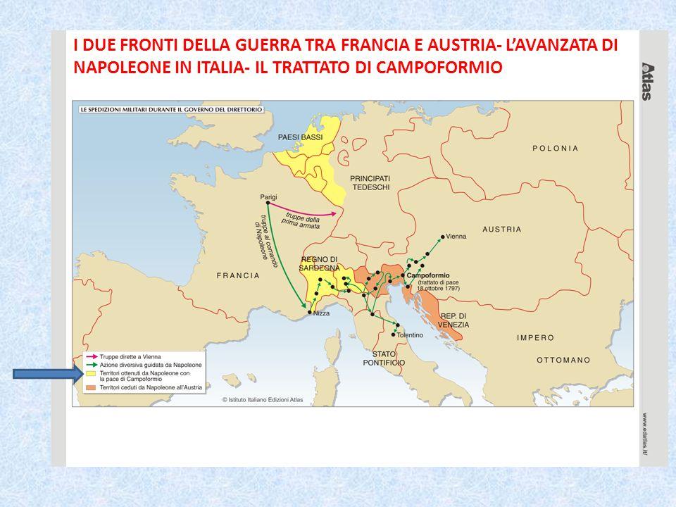I DUE FRONTI DELLA GUERRA TRA FRANCIA E AUSTRIA- LAVANZATA DI NAPOLEONE IN ITALIA- IL TRATTATO DI CAMPOFORMIO