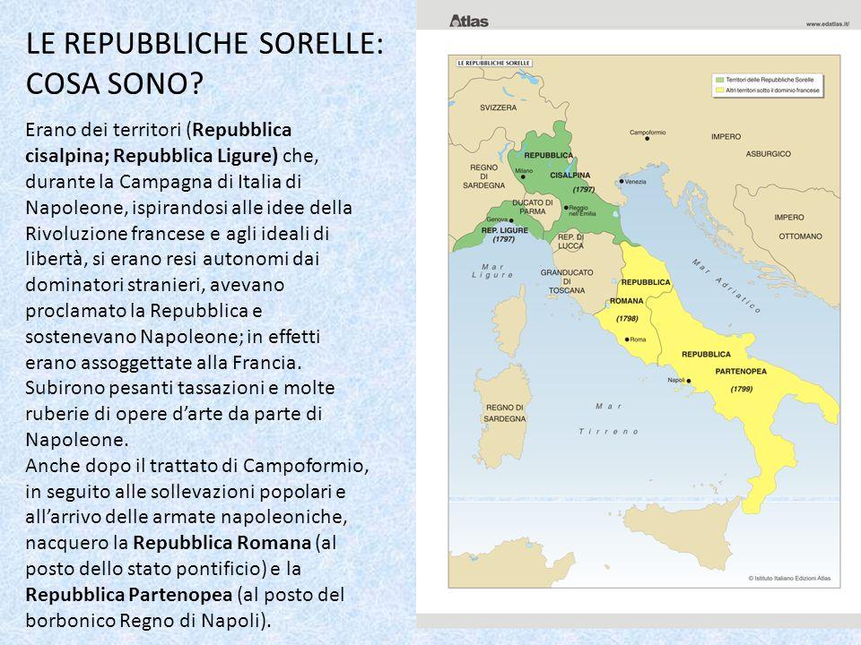 LE REPUBBLICHE SORELLE: COSA SONO? Erano dei territori (Repubblica cisalpina; Repubblica Ligure) che, durante la Campagna di Italia di Napoleone, ispi