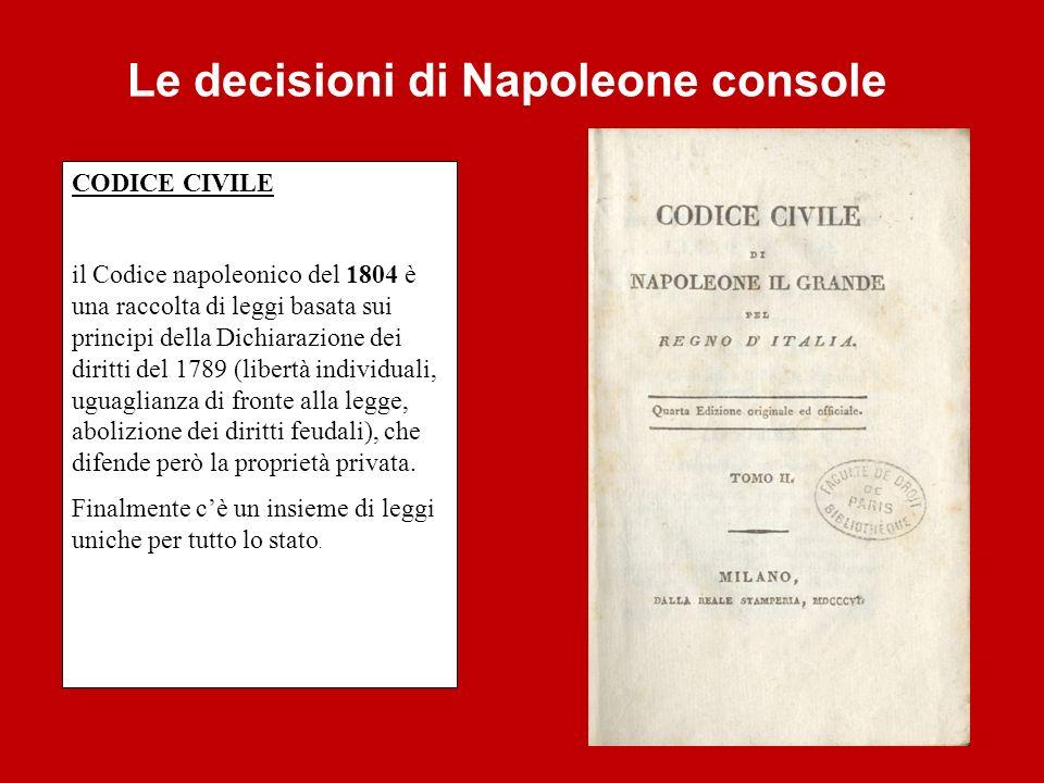 CODICE CIVILE il Codice napoleonico del 1804 è una raccolta di leggi basata sui principi della Dichiarazione dei diritti del 1789 (libertà individuali