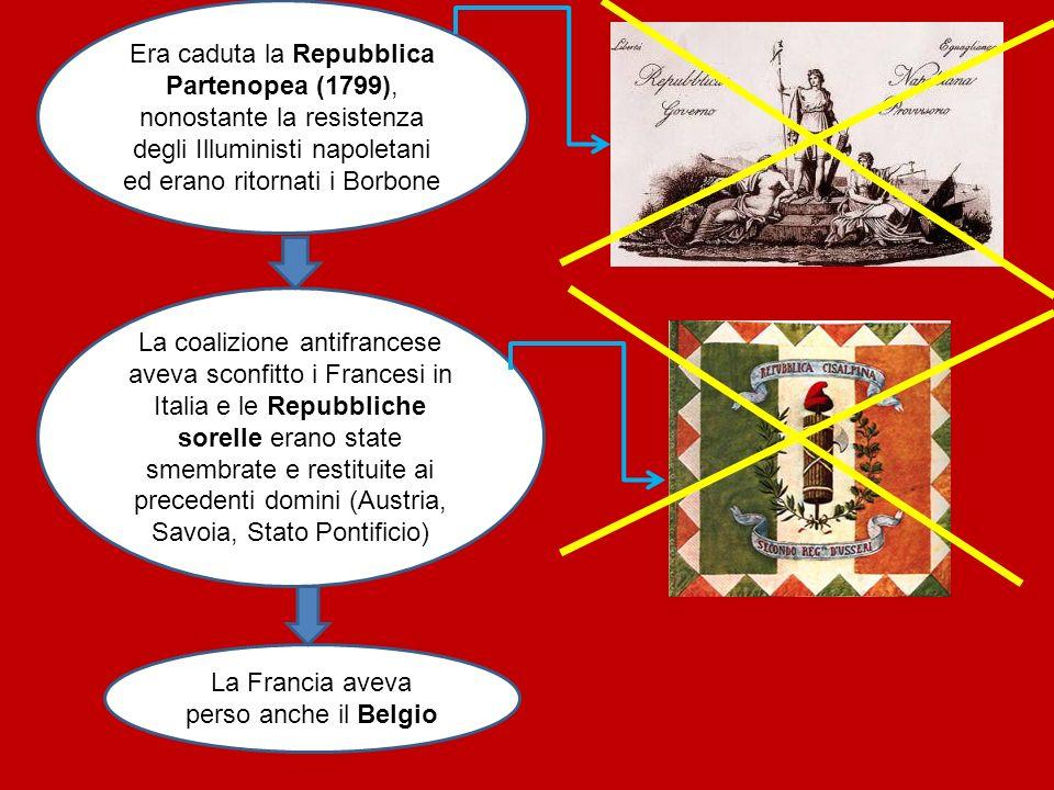 Era caduta la Repubblica Partenopea (1799), nonostante la resistenza degli Illuministi napoletani ed erano ritornati i Borbone La Francia aveva perso