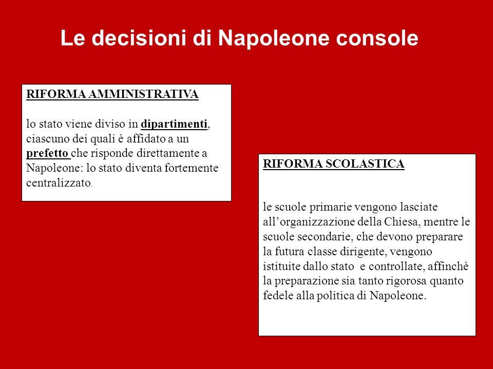 Le decisioni di Napoleone console RIFORMA AMMINISTRATIVA lo stato viene diviso in dipartimenti, ciascuno dei quali è affidato a un prefetto che rispon