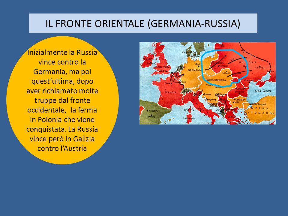 IL FRONTE ORIENTALE (GERMANIA-RUSSIA) Inizialmente la Russia vince contro la Germania, ma poi questultima, dopo aver richiamato molte truppe dal front
