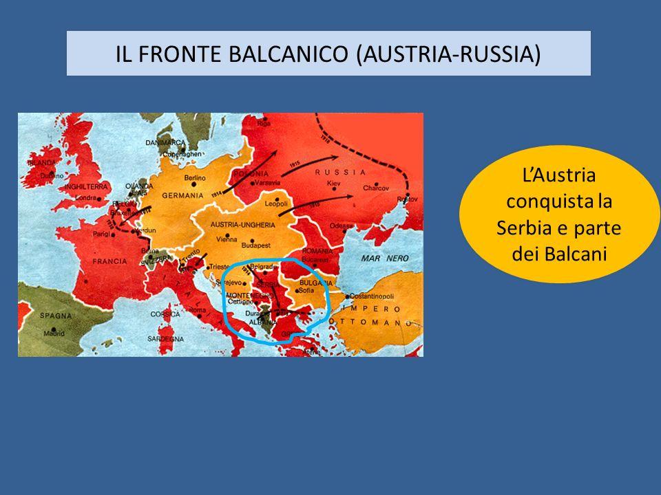 IL FRONTE BALCANICO (AUSTRIA-RUSSIA) LAustria conquista la Serbia e parte dei Balcani