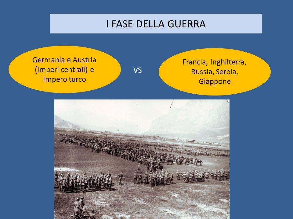 I FASE DELLA GUERRA Germania e Austria (Imperi centrali) e Impero turco Francia, Inghilterra, Russia, Serbia, Giappone VS