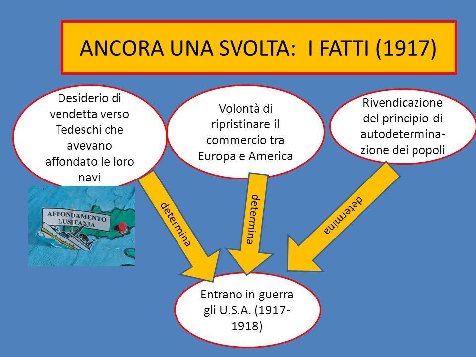 ANCORA UNA SVOLTA: I FATTI (1917) Entrano in guerra gli U.S.A. (1917- 1918) Rivendicazione del principio di autodetermina- zione dei popoli Volontà di