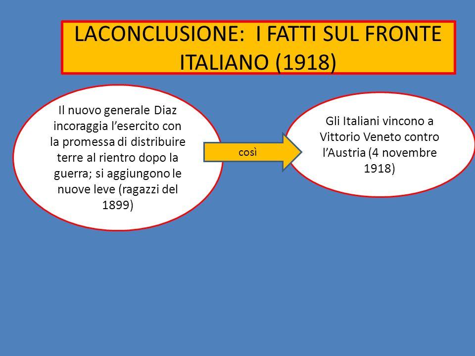 LACONCLUSIONE: I FATTI SUL FRONTE ITALIANO (1918) Il nuovo generale Diaz incoraggia lesercito con la promessa di distribuire terre al rientro dopo la