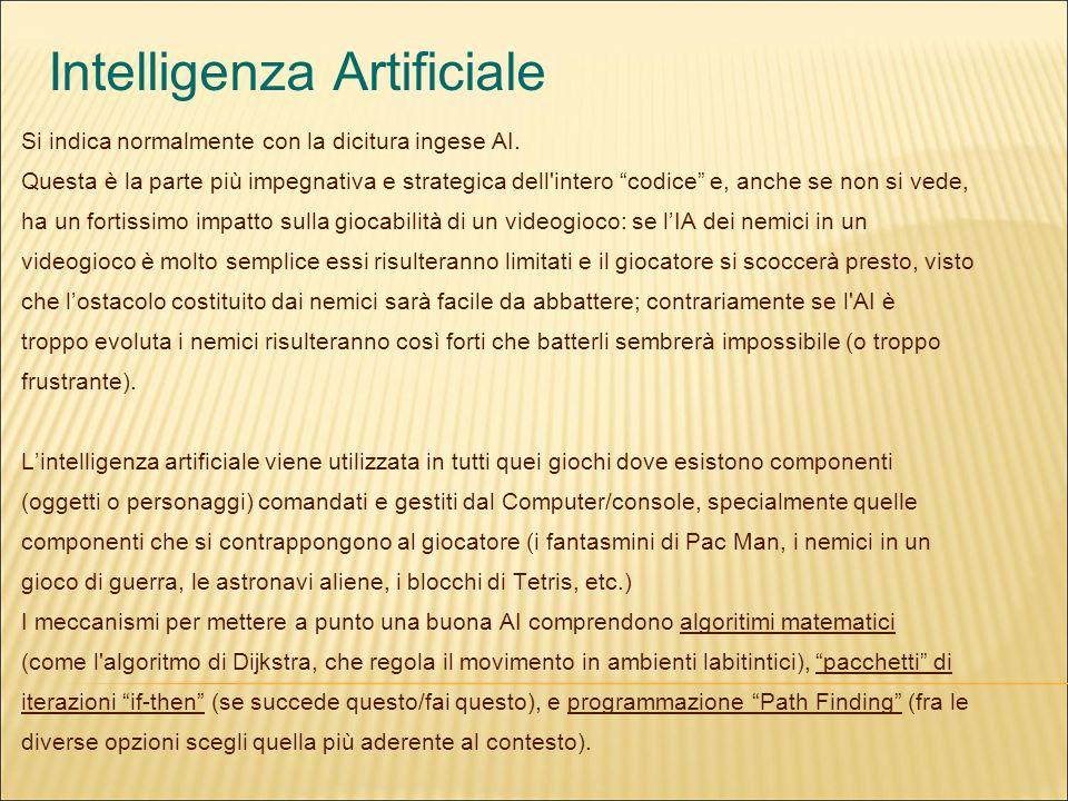 Intelligenza Artificiale Si indica normalmente con la dicitura ingese AI.