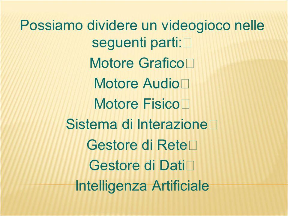 Possiamo dividere un videogioco nelle seguenti parti: Motore Grafico Motore Audio Motore Fisico Sistema di Interazione Gestore di Rete Gestore di Dati Intelligenza Artificiale