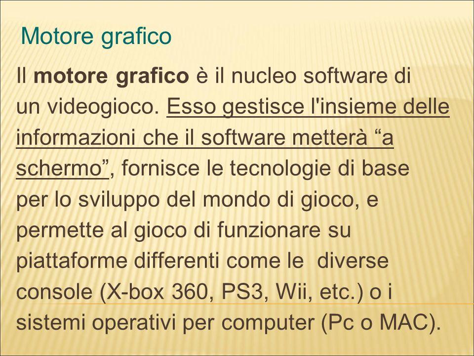 Motore grafico Il motore grafico è il nucleo software di un videogioco.