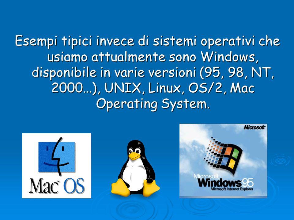 Esempi tipici invece di sistemi operativi che usiamo attualmente sono Windows, disponibile in varie versioni (95, 98, NT, 2000…), UNIX, Linux, OS/2, M