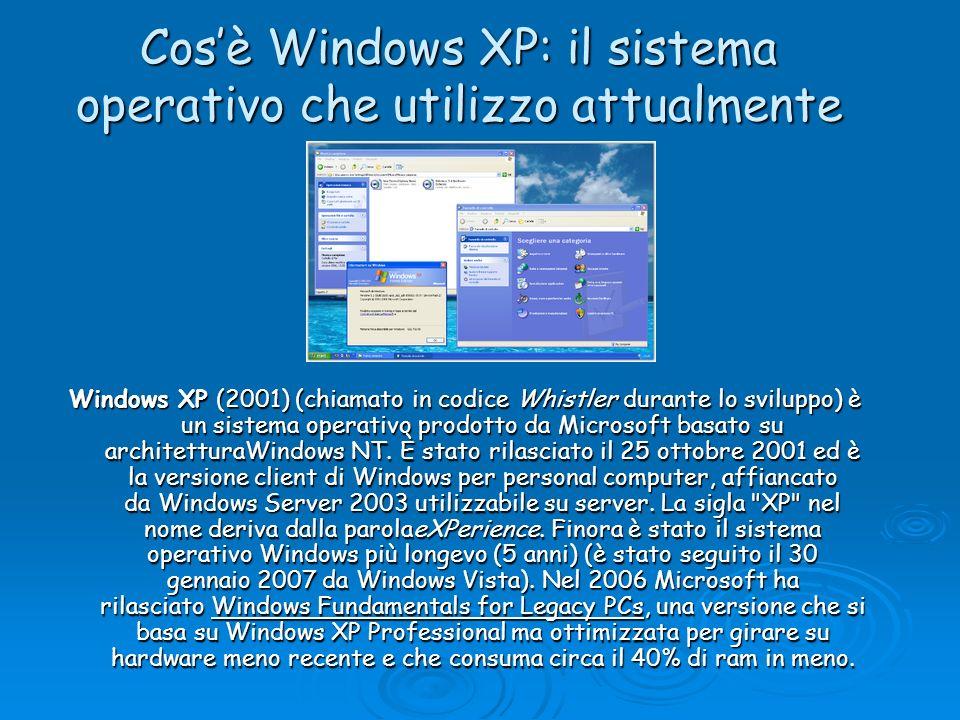 Cosè Windows XP: il sistema operativo che utilizzo attualmente Windows XP (2001) (chiamato in codice Whistler durante lo sviluppo) è un sistema operat