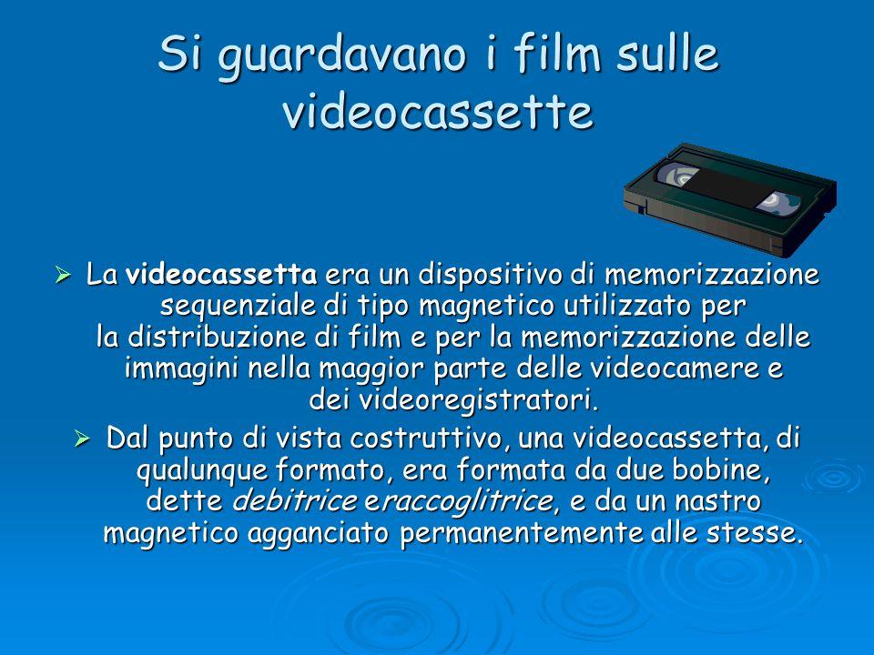 Si guardavano i film sulle videocassette La videocassetta era un dispositivo di memorizzazione sequenziale di tipo magnetico utilizzato per la distrib
