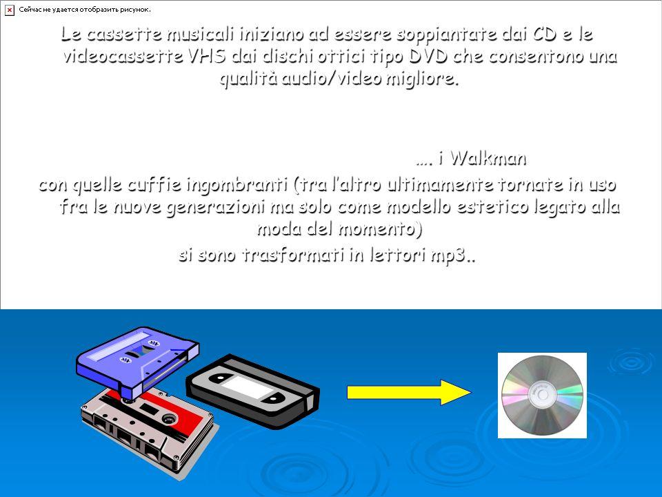Le cassette musicali iniziano ad essere soppiantate dai CD e le videocassette VHS dai dischi ottici tipo DVD che consentono una qualità audio/video mi