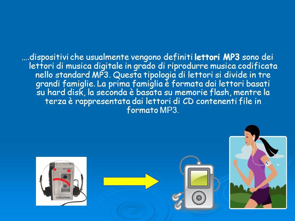 ….dispositivi che usualmente vengono definiti lettori MP3 sono dei lettori di musica digitale in grado di riprodurre musica codificata nello standard