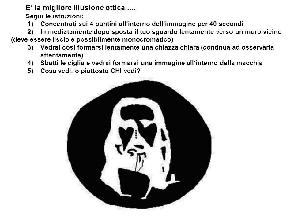 E la migliore illusione ottica..... Segui le istruzioni: 1) Concentrati sui 4 puntini allinterno dellimmagine per 40 secondi 2) Immediatamente dopo sp