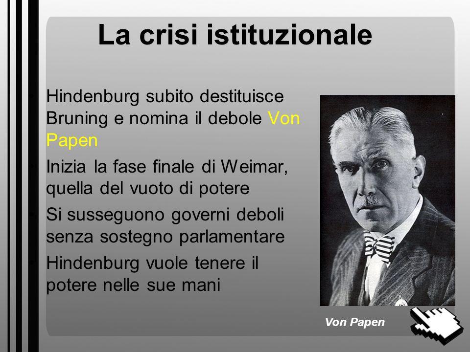 Le elezioni presidenziali Questa nuova situazione si conferma alle elezioni presidenziali del 32 2 sono le candidature forti: Hindenburg (sostenuto an