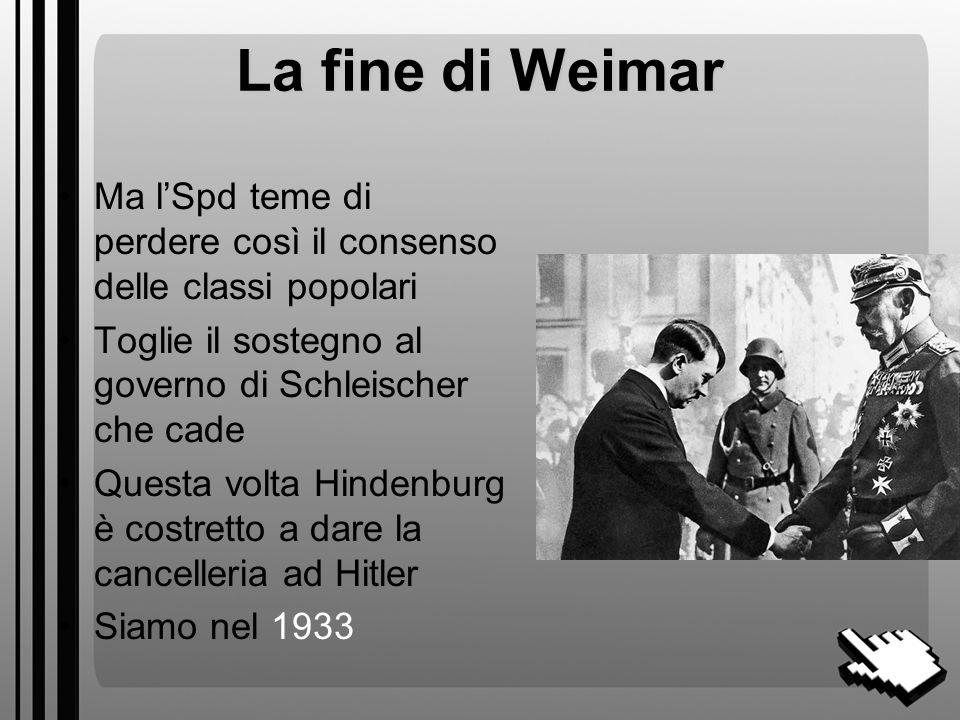 La crisi istituzionale (3) Non si riesce a fare nessun governo Immediate nuove elezioni Hitler perde 2 milioni di voti Nasce il debole governo del generale Von Schleicher che cerca consensi nei ceti popolari con riforme populiste