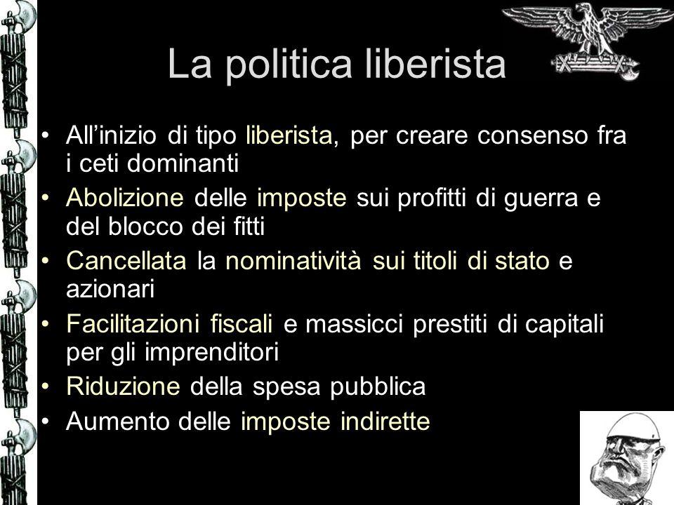 La politica liberista Allinizio di tipo liberista, per creare consenso fra i ceti dominanti Abolizione delle imposte sui profitti di guerra e del bloc